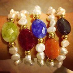 Pulseras perlas y agatas by Luz Marina Valero