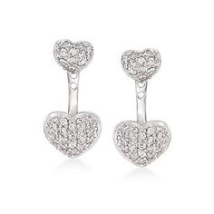 Ross-Simons - .93 ct. t.w. CZ Heart Jewelry Set: Earrings and Front-Back Jackets in Sterling Silver - #870007