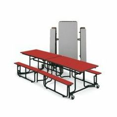 KI Folding Tables with Benches - Aqua wave by KI. $1291.00. KI Folding Mobile Tables/Benches are the ultimate convenience in group seating. Pneumatic lift assist system includes torsion bars that make these tables easy to set up and store by one person. Gravity lock automatically engages apron slots so table won TMt close unexpectedly. Pinch-free center hinges and sufficient space between table halves keeps fingers from getting caught. A large integrated storage lock a...