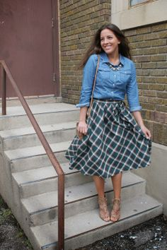 plaid midi skirt with denim top | Blushing Blvd