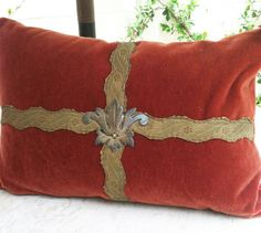 Love this pillow from Studio Veneto ~~Antique French Fleur-de-lis and Antique Scalloped Metallic Trim on Sienna Mohair  Front and Back
