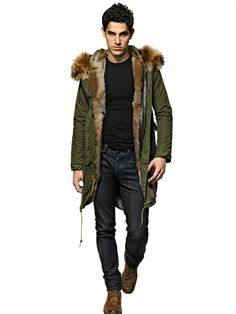 MR FURS - RABBIT FUR & CANVAS VINTAGE PARKA - LUISAVIAROMA - LUXURY SHOPPING WORLDWIDE SHIPPING - FLORENCE