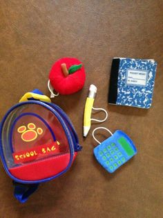 Build A Bear Backpack, calculator, apple, pencil, notebook clothes shoes
