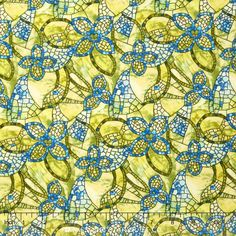 Byzantium Blue - Fresco Floral Lime/Blue Yardage - Dover Hill - Benartex