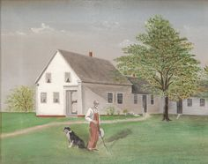 Grant Wood (AMERICAN, 1891-1942) oil painting on canvas depicting a landscape scene with William Breeding and dog. Anamosa, Iowa. Painted circa 1910.