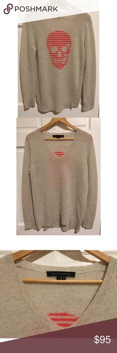 """Skull Cashmere 360 Luther Sweater Gray Pink Sz M Great Condition, no flaws, across chest 20"""", length from armpit 17"""", 100% cashmere Skull Cashmere Sweaters Crew & Scoop Necks"""