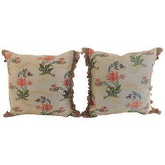 Pair of Antique Textile Brocade Floral Pillows with Tassel Trim.