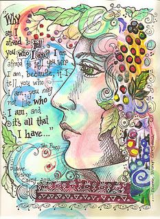 ~ Lovely Art Journal Page ~Love the idea of drawing a profile of a face w/ the writing & embellishments