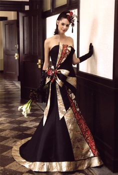Takeda s Asymmetrical Kimono Dress Community Post 10 Classy Wedding Dresses Made From Japanese Kimonos Classy Wedding Dress, Pretty Wedding Dresses, Beautiful Dresses, Wedding Gowns, Prom Dresses, Formal Dresses, Japanese Fashion, Japanese Geisha, The Dress