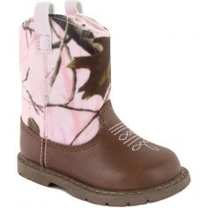 Realtree® pink camo and brown leather like western boot with embroidery accents.