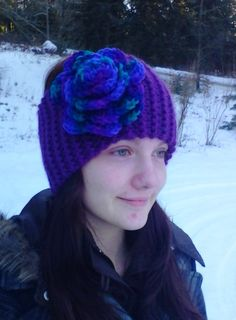 Portland wine yarn ear warmer knit with Gemstone yarn rose crocheted by Jodi Villanella