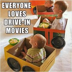 Birthday party idea? Boy sleepover? Get big enough boxes for a drive in movie! (Cars party)