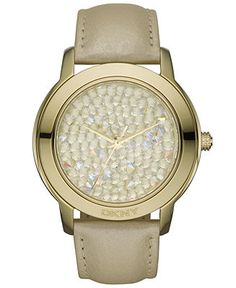 DKNY Watch, Women's Champagne Leather Strap NY8435 - Watches - Jewelry & Watches - Macy's