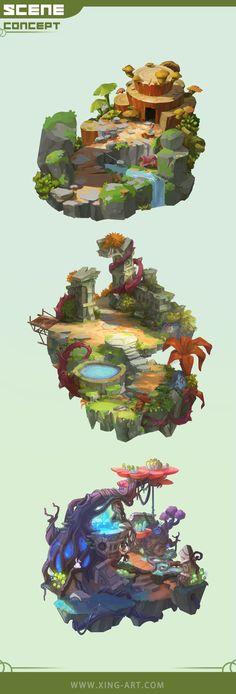 Level Design, Bg Design, Isometric Art, Isometric Design, Fantasy Art Landscapes, Landscape Art, Landscape Illustration, Illustration Art, Disneysea Tokyo