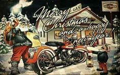 Santa at a Gas station filling the Harley.