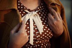 brown polka dot dress | autumn-winter style inspiration