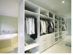 I'm not sure what it is about this set up that I like so much. I think it's how open it is. Maybe a curtain to block them for when guests are over. I really love the way the closet is so open though!