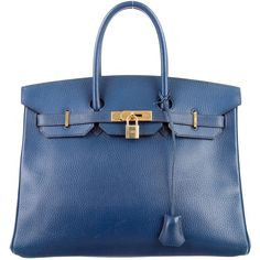 Pre-owned Herm?s Ardennes Birkin 35 (10 460 AUD) ❤ liked on Polyvore featuring bags, handbags, blue, blue handbags, genuine leather purse, man bag, hermes handbags and blue hand bag