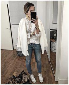 """8,079 Likes, 51 Comments - Audrey Lombard (@audreylombard) on Instagram: """"En dessous du pull du jour! • Top #masscob (last collection) • Jean #hironaeparis (on…"""""""