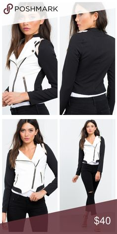 Moto Jacket Black/Ivory cropped moto jacket with a triple colorblocked body and asymmetric zipper closure. Zipped vertical pockets at sides. Standup short collar.. 95% polyester, 5% spandex. Jackets & Coats