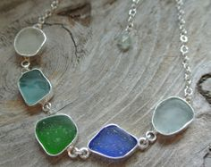 Sea Glass Necklaceall the colors of the sea by seaglasscrystalmoon, $199.00