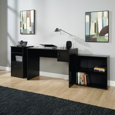 Executive Home Office Furniture Set Black 3 Piece Bookcase Computer Desk Storage #Mainstays