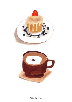 cappuccino & cake illustration hand drawing / illustration-food illustration … - Home & DIY Tee Illustration, Junk Food, Easy To Digest Foods, Cappuccino Machine, Food Drawing, Cake Drawing, Food Illustrations, Snack, Mini Cakes