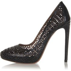 Alaia Perforated Leather Pumps with Heel 12.5 cm ($365) ❤ liked on Polyvore featuring shoes, pumps, black, stiletto shoes, black leather shoes, black high heel shoes, black leather stilettos and alaia shoes