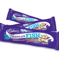 A box of 49 of Cadbury Chocolate Fish.  These delicious bars of fish shaped marshmallow covered in smooth Cadbury's Chocolate is a real favourite in New Zealand.
