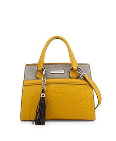 CHARLES JOURDAN Valentina Two-Tone Satchel Bag, Yellow/Gray - was $399.0, now $217.0 (46% Off). Picked by mickster @ Last Call by Neiman Marcus