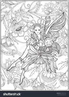 fairy with butterfly wings on swing on medieval floral background coloring page Shutterstock 477877774