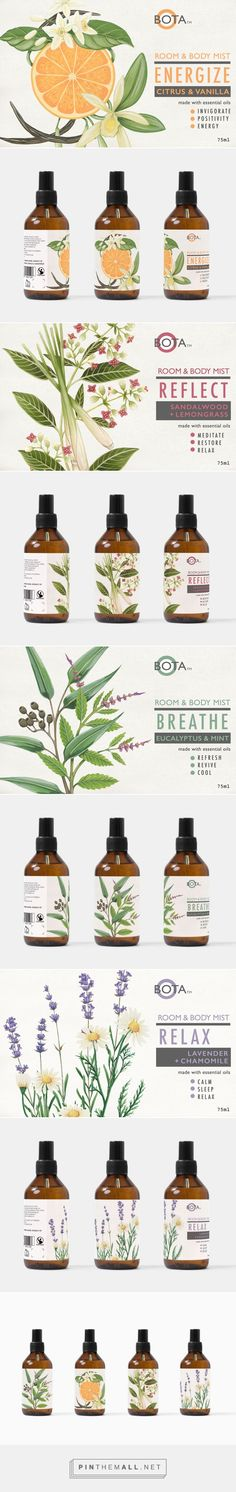 Botanical Body Mist on Behance by Charlotte Day curated by Packaging Diva PD. Hand painted botanical illustration for packaging aromatic room and body... - a grouped images picture