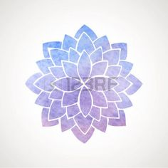 abstract flowers: Watercolor lotus flower in blue and violet colors. Symbol of india, oriental practices, yoga, meditation. Vector decorative element. Logo template Illustration
