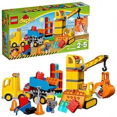 LEGO DUPLO Big Construction Site 10813 Building Set with Toy Dump Truck, Toy Crane and Toy Bulldozer for a complete Toddler Construction Toy Set Pieces) - Toys