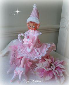 Miss Candy Cane - OOAK pink vintage elf