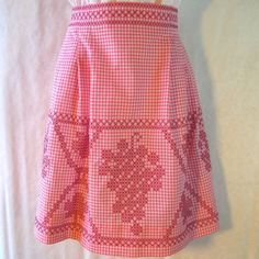Vintage Pink Gingham Apron with Grape Motif in Burgundy Cross-Stitch