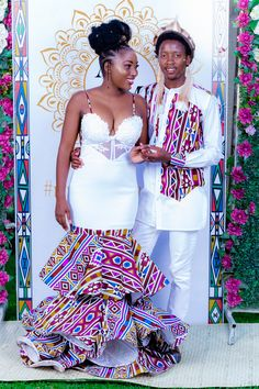 """""""And then I had a traditional wedding in Zimbabwe. What a beautiful day it was. Call me Mrs N"""" African Bridal Dress, African Print Wedding Dress, African Wedding Attire, African Prom Dresses, Latest African Fashion Dresses, African Dresses For Women, African Traditional Wedding Dress, African Fashion Traditional, Couples African Outfits"""