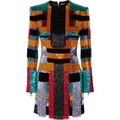 Balmain Color-block beaded velvet mini dress (€9.580) ❤ liked on Polyvore featuring dresses, balmain, orange, color block dress, velvet mini dress, short beaded cocktail dresses, fringe dress and short beaded dress