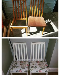 Recovered and painted my Grandma's 4 dining room chairs using annie sloan paint.