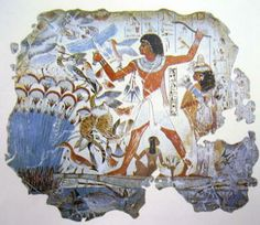 Tomb Chapel of Nebamun, wall painting. The British Museum acquired 11 wall-paintings from the tomb-chapel of a wealthy Egyptian official called Nebamun in the Dating from about 1350 BC, they are some of the most famous works of art from Ancient Egypt. History Lesson Plans, Art History Lessons, Art Lessons, Ancient Egypt Art, Ancient History, British Museum, Blue Pigment, Art Antique, Egyptian Art