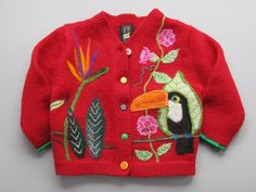 Children's recycled red needle felted wool sweater with toucan. $225.00, via Etsy.