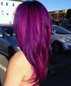 How to Dye Your Hair Purple - hair - Hair Designs Funky Hairstyles, Pretty Hairstyles, Style Hairstyle, Love Hair, Gorgeous Hair, Curls Haircut, Pink Purple Hair, Purple Ombre, Turquoise Hair