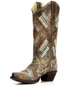 Women's Cowhide Snip Toe Boot with Embroidery - E1037, Bone