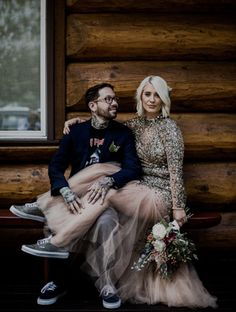 """Dave & Julia Shapiro said """"I do"""" atopKahiltna Glacier in Alaska, and they lived happily ever after in their Vans.  The bride woreGlitter Textile Authentics in Grey/True White & the groom woretheChima Ferguson Pro in Midnight Navy/White.   Photos by Ashley Osborn &  Eric Tobin"""