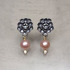 Sterling Silver Lotus Bloom Stud Earrings with 18k Gold Pearl
