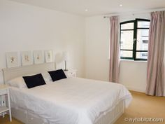 White sheets, black pillows, and graceful art combine to make this #furnished #apartment #rental in #London one of the best in the city. Would you agree?  http://www.nyhabitat.com/london-apartment/furnished/1272