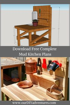 Downloadable construction plans for a kid\'s mud kitchen or potting table.  #DIY #outsidesetup #kidscrafts #gardening #outdoorkitchen #outdoordiyplans