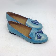 Women's blue spring shoes handmade with by SmithHandmadeShoes