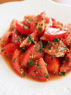 DELI風トマトとシソのポン酢和え