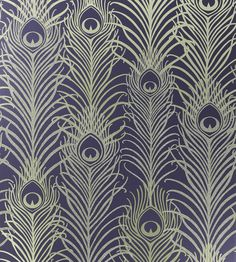 Peacock Gold and Violet Wallpaper from Osborne and Little Eden Collection. A signature wallpaper design by Matthew Williamson featuring peacock feathers in metallic and antique gold with tiny reflective beads on a dark violet background. Wallpaper Art Deco, Peacock Wallpaper, Luxury Wallpaper, Contemporary Wallpaper, Designer Wallpaper, Pattern Wallpaper, Custom Wallpaper, Wallpaper Toilet, Peacock Feathers